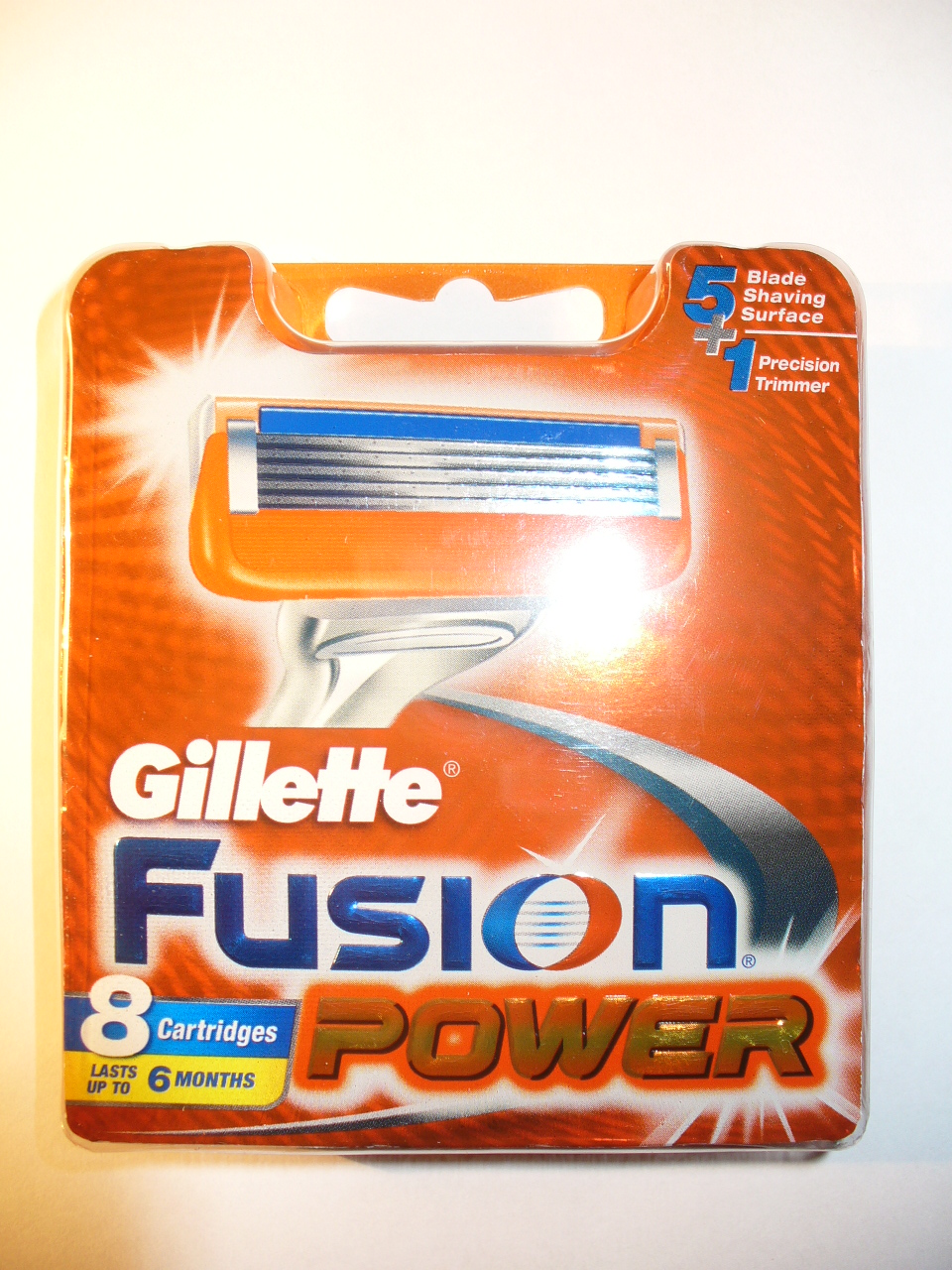 Power 8 Cartridges New 5 Razor Blades / Trimmer - Gillette Fusion